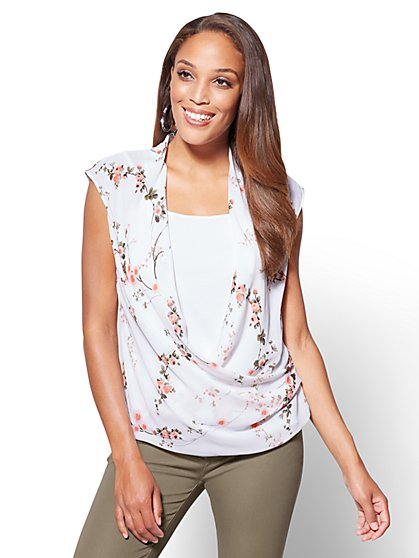 Layered Wrap Top - Print - New York & Company