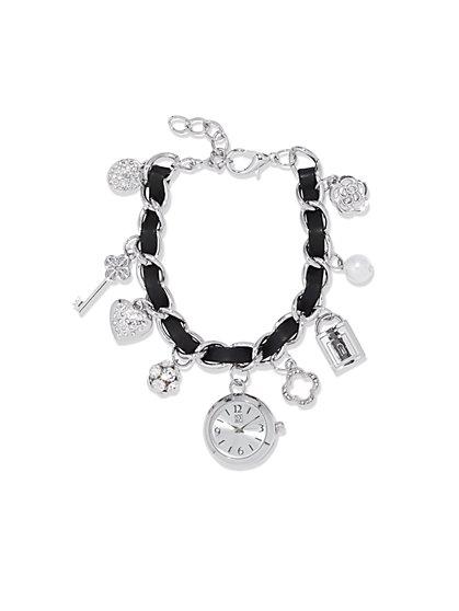 Leather Chain Watch Charm Bracelet - New York & Company