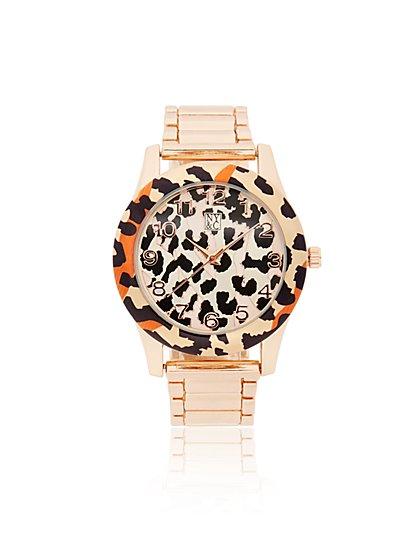 Leopard-Print Goldtone Watch - New York & Company