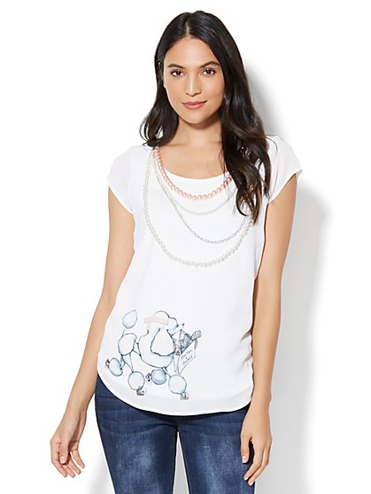 Limited Edition - Faux-Pearl Trim Poodle Graphic T-Shirt - New York & Company