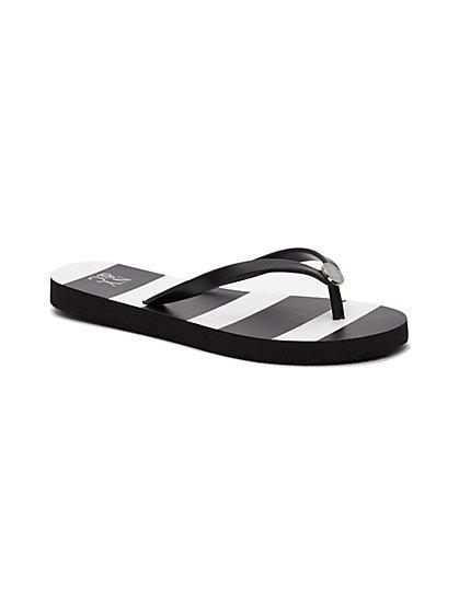 Logo Flip-Flop Sandal - Stripe  - New York & Company