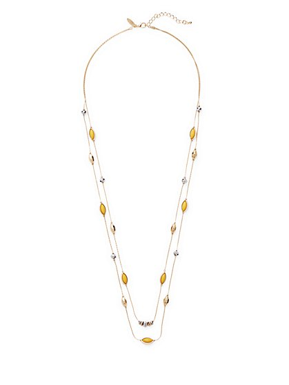 Long Beaded Illusion Necklace  - New York & Company