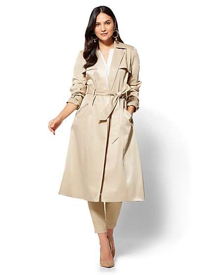 Long Belted Soft Trench Coat  - New York & Company