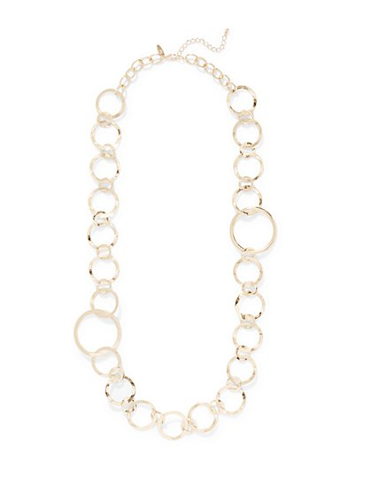 Long Circular Link Statement Necklace  - New York & Company