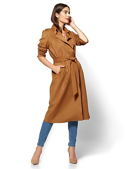 Long Faux-Suede Belted Trench Coat  - New York & Company