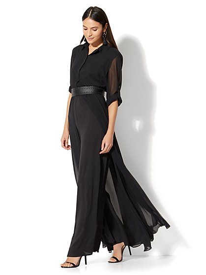 Long-Sleeve Jumpsuit - Black - New York & Company