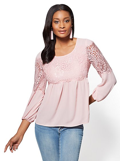 Long-Sleeve Lace Top - New York & Company