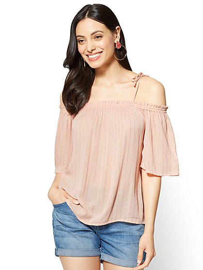 Lurex Off-The-Shoulder Blouse - New York & Company