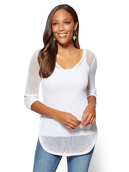 Lurex Open-Stitch V-Neck Sweater - New York & Company