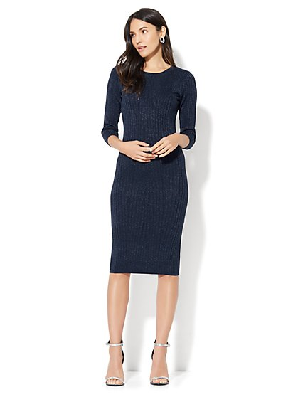 Lurex Ribbed-Knit Sweater Dress - New York & Company