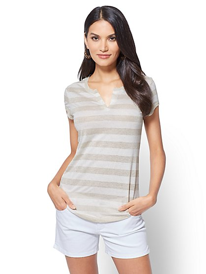 Lurex-Stripe Split-Neck Tee - New York & Company
