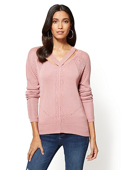 Lurex V-Neck Cutout Sweater - New York & Company