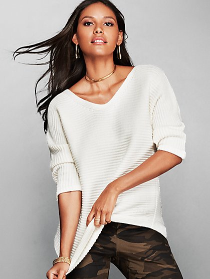 Lurex V-Neck Dolman Sweater - New York & Company
