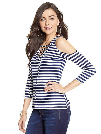 Manhattan Tee - Lace-Up Cold-Shoulder Top - Stripe - New York & Company