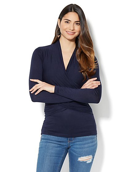 Manhattan Tee - V-Neck Wrap Top - New York & Company