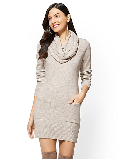 Marled Cable-Knit Cowl-Neck Sweater Dress - New York & Company