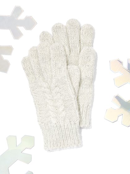 Marled Cable-Knit Gloves - New York & Company