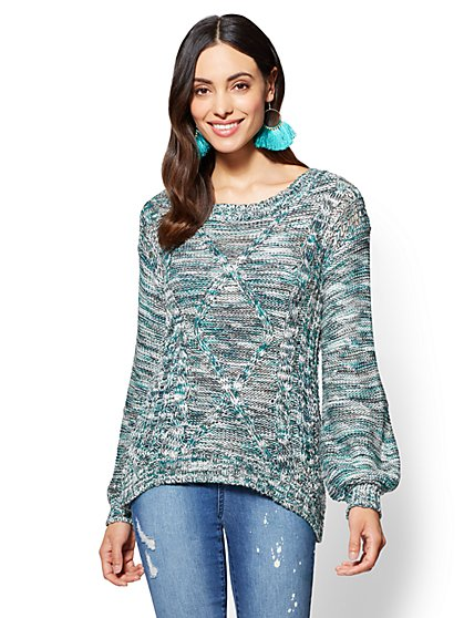 Marled Cable-Knit Sweater - New York & Company
