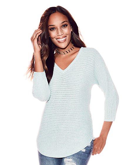 Marled V-Neck City Dolman Sweater - New York & Company