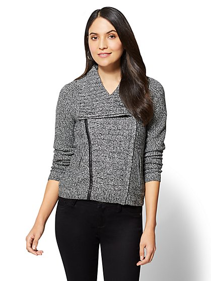 Marled Zipper Front Cardigan - New York & Company