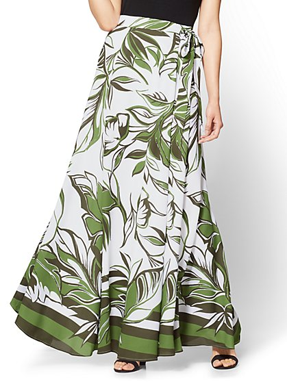 Maxi Skirt - Abstract Floral Print - Green - New York & Company