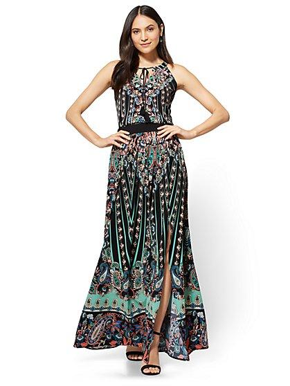 Maxi Skirt - Black Paisley - Petite - New York & Company
