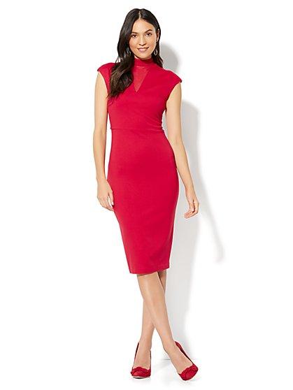 Mesh-Accent Sheath Dress - New York & Company