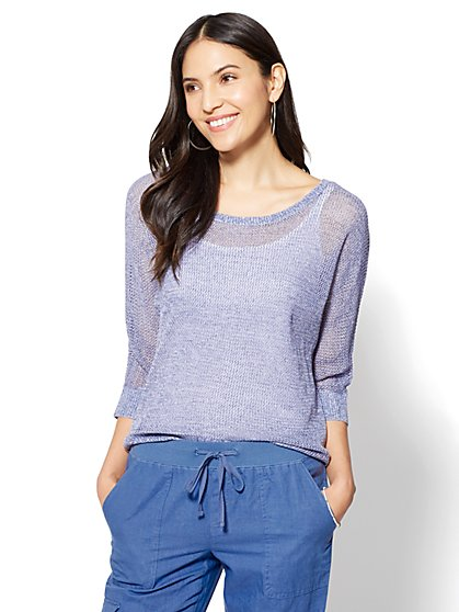 Mesh Hi-Lo Dolman Sweater - New York & Company