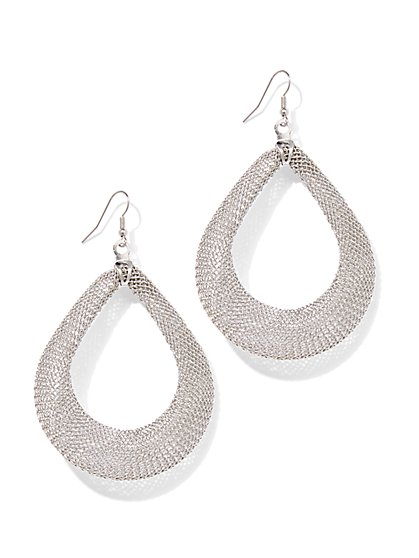 Mesh Open Teardrop Earring  - New York & Company
