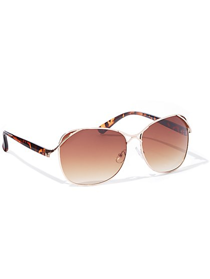 Metal-Accent Sunglasses - New York & Company