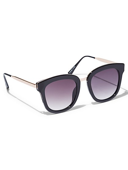 Metal-Rim Square Sunglasses  - New York & Company
