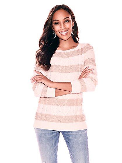 Metallic Cable-Knit Sweater - Stripe - New York & Company