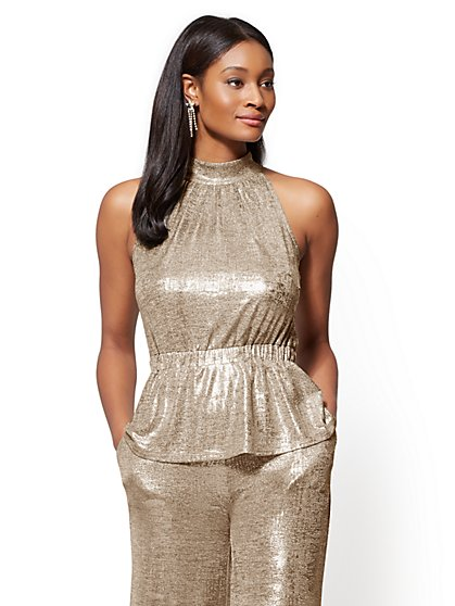 Metallic-Foil Halter Top - New York & Company