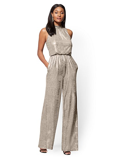 Metallic Foil Mock-Neck Jumpsuit - Petite - New York & Company