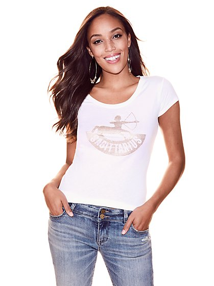 "Metallic Foil & Rhinestone ""Sagittarius"" T-Shirt - New York & Company"