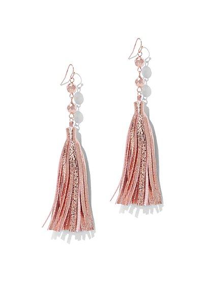 Metallic-Foil Tassel Drop Earrings - New York & Company