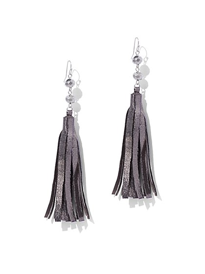 Metallic-Foil Tassel Drop Earrings - New York & Company