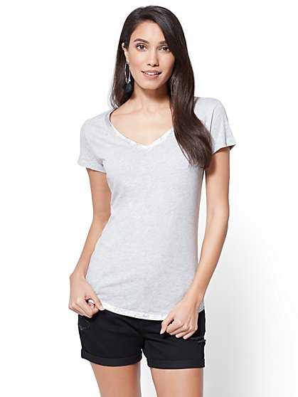 Metallic Foil-Trim Tee - New York & Company