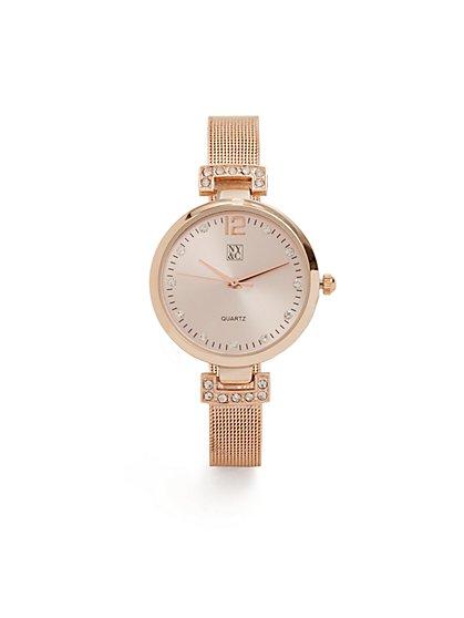 Metallic Mesh-Strap Watch - New York & Company