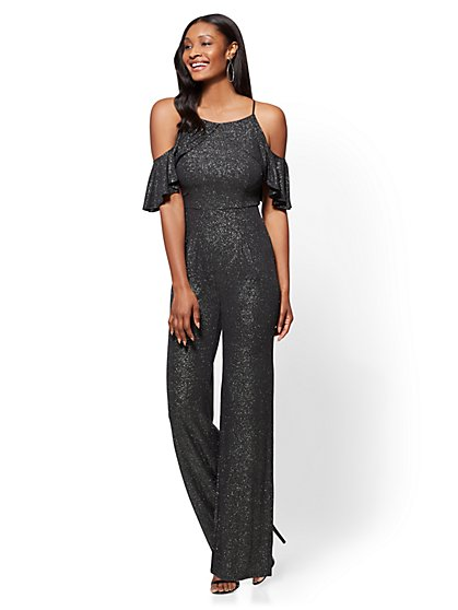 Metallic Ruffled Jumpsuit - Petite - New York & Company