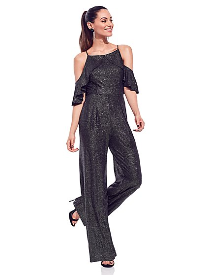 Metallic Ruffled Jumpsuit - New York & Company