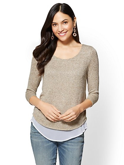 Metallic Split-Back Twofer Top - New York & Company