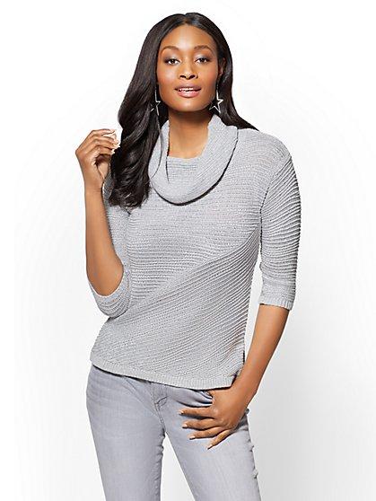 Metallic Stripe Cowl-Neck Sweater - New York & Company
