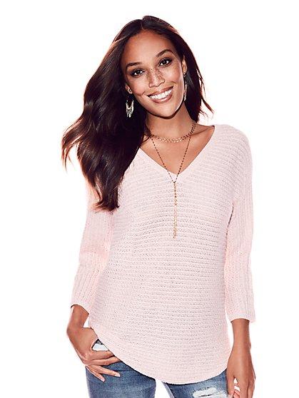 Metallic V-Neck City Dolman Sweater - New York & Company