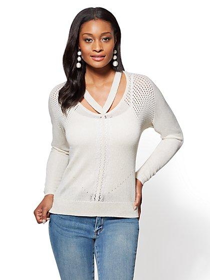 Metallic V-Neck Cutout Sweater - New York & Company