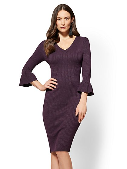 Metallic V-Neck Sweater Dress - New York & Company