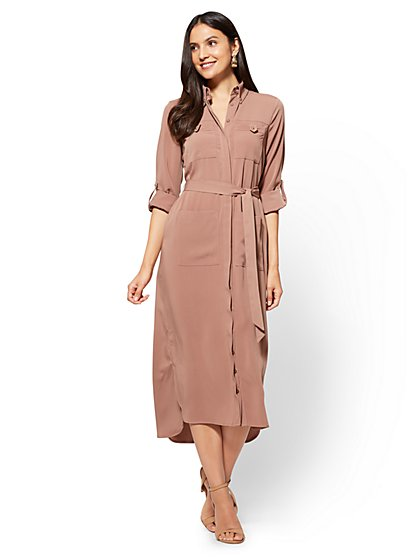 Midi Shirtdress - Mocha - New York & Company