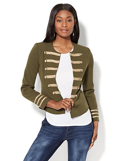 Military-Style Jacket - Olive - New York & Company