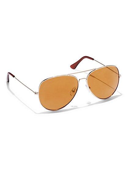 Mirrored Aviator Sunglasses  - New York & Company