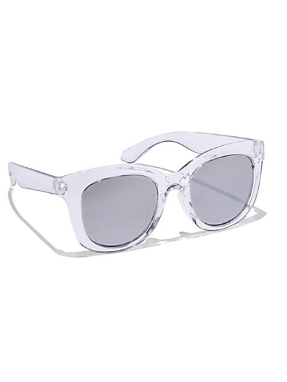 Mirrored Cat-Eye Sunglasses - White  - New York & Company